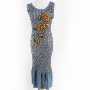 Vintage Missoni Pointelle Knit Embellished Dress